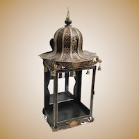 Antique Chinoiserie Gilt Tole Mirrored Wall Table Vitrine Display Cabinet ~ RARE and WONDERFUL~  Pagoda Top with Six Brass Bells