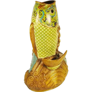 """17"""" Magnificent Chinese Cloisonné Fish Vase ~ Gorgeous Colors  Lime Green, Turquoise. Pink and Royal Blue ~ BIG!"""