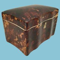 Elegant Antique Faux Tortoise Tea Caddy Casket Hinged Box