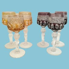 Vintage Estate Six Cordial Stems Glasses ~ Three Amber and Three Amethyst Exquisite Cut Glasses wCut Crystal Stems ~ Luscious Colors