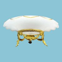 """12 ½"""" Antique French White Opaline Center Bowl ~ The  Grandest Gilt Ormolu ~ Absolutely Magnificent !"""