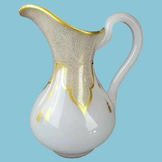 Antique French White Opaline Pitcher  ~This BEAUTY is Draped in Gilding Lace and Tassels