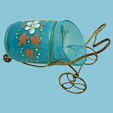 Antique Hand Painted Blue Opaline Cart  ~ Gilt Ormolu Movable Wheels  ~  Hand painted Flowers