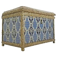 Grandest Antique French Champlevé Casket Hinged Box  ~  Glorious Mounts and Footed Ball Base