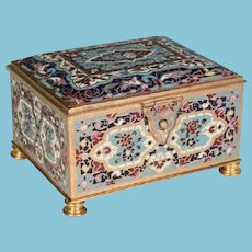 Antique French Bronze Champlevé Casket Hinged Box ~ Pretty Footed Base and Velvet Interior ~ A French Champlevé MASTERPIECE