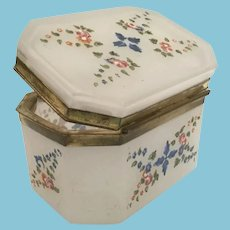 Antique Opaline Hinged Box ~  Lovely Flowers and Leaves