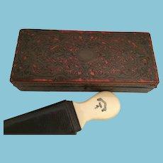 "RARE Antique Shave Set   ~  7 RAZORS ""7 DAYS"" Boulle Hinged Box"