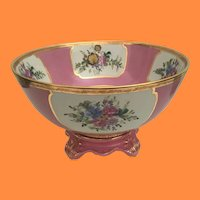 """16"""" Centerpiece Porcelain Bowl and Awesome Stand  ~ BIG  ~  9 Gorgeous Flowers and  Fabulous Gilding~ A Grand Estate Treasure"""