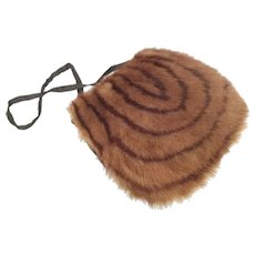 """Vintage Estate Fur Muff Purse  ~ Lovely Fur Muff and Black Silk Back with a 7"""" Zipper."""