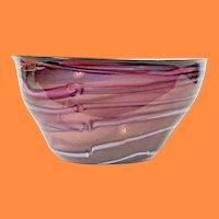 "1986 Hawthorne & Nowak Studio Glass  Bowl ~ 17 ¾""  FABULOUS Purple Lavender Bowl ~WOW!"