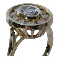 14K Yellow Gold Oval Channel Set Diamond Cluster Ring