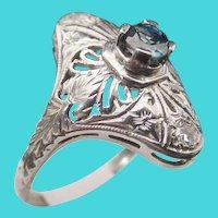 Antique Sapphire 18KARAT  White Gold  Filigree Ring