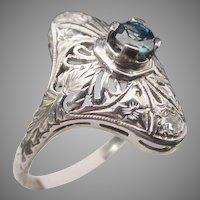 "Antique Sapphire 18KARAT  White Gold  Filigree Ring  ""BEAUTIFUL"""