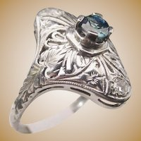 "Antique Sapphire 18KARAT  White Gold  Filigree Ring  ""BEAUTIFUL"""