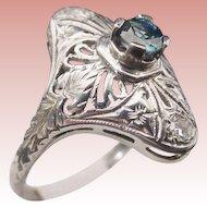 "Sapphire 18KARAT  White Gold  Filigree Ring  ""BEAUTIFUL"""