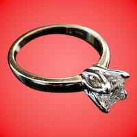 "Solitaire Diamond Ring in a Tulip Head Mounting ""RADIANT CUT"""