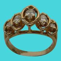 """Five Diamond""""Marquise Cut"""" Diamond Ring"""