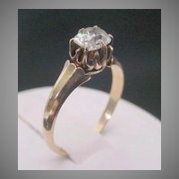 Antique  14K  Oval Diamond Ring