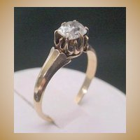 Antique  14K  Oval Diamond Ring