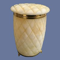 Alabaster Footed Hinged Casket Box ~ Deep Diamond Cut Pattern.~ Gilt brass Mounts and Three  Footed Brass Base.