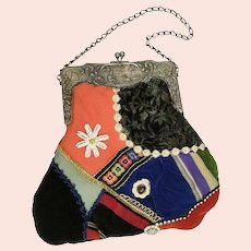 Lovely HandBag  ~ Silk and Velvet Patchwork wAccents of Buttons and Lace ~ Beautiful  Ornate Silver Frame
