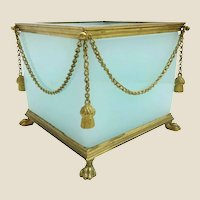Antique French Opaline Paw Foot Cachepot  ~ GILT SWAGS & TASSELS  ~  Aqua Seafoam Opaline Masterpiece