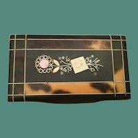 Beautiful Antique Papier Mache Snuff Box w String Pique Top ~ Early 19th Century