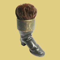 Antique Boot Pin Cushion ~ Painted Metal Boot w Gilt Bronze Top and the Original Velvet