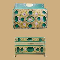 """8"""" Antique Green Opaline Glass Casket Hinged Box ~  Cut and Hand Painted WGilt Bronze Paw Foot Base, Smooth Mounts and Lift Clasp."""