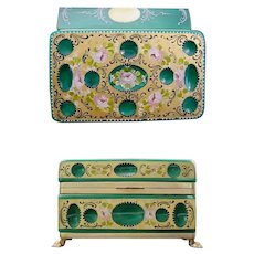 "8"" Antique Green Opaline Glass Casket Hinged Box ~  Cut and Hand Painted WGilt Bronze Paw Foot Base, Smooth Mounts and Lift Clasp."
