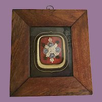 Charming Antique Glass Beaded Picture in a Wood Frame ==CLOSEOUT==