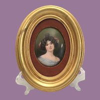 Antique Pretty Lady Miniature on Porcelain in Oval Gold Leaf Frame ==CLOSEOUT==
