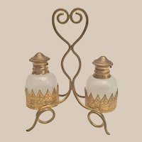 Grand Tour White Opaline Scent Caddy ~ EXQUISITE   Gilt Ormolu Stand w Two White Opaline Scent Bottles