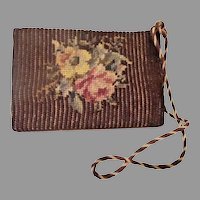 """Charming Antique Needlepoint """"FLOWERS"""" Door Stop    =WAREHOUSE CLEAN OUT="""