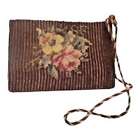 "Charming Antique Needlepoint ""FLOWERS"" Door Stop    =WAREHOUSE CLEAN OUT="