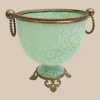 Beautiful Antique Green Crackle Glass Double Handle Cachepot ~ Gilt Ormolu Footed Base and Large Mounted Ring Handles