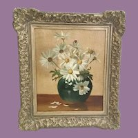 """Oil Painting on Canvas """"Daisies in a Vase"""" ~  Nice Ornate 2 ½"""" Gilding Frame"""