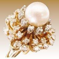 MAGNIFICENT  14KARAT,  Diamond  and  Cultured Akoya Pearl Ring