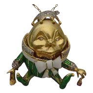 . 18Karat Humpty Dumpty Jeweled Enamel  Pendant