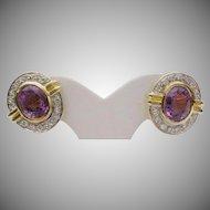 Stunning  Diamond and Amethyst Earrings