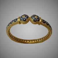 """Antique 22KARAT Magnificent  Enamel Bangle Bracelet """" A MASTERPIECE""""  for Small Wrist"""