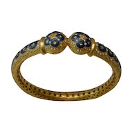 "Antique 22KARAT Blue &  White Enamel Bangle Bracelet "" A MASTERPIECE"""