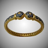 "Antique 22KARAT Blue &  White Enamel Bangle Bracelet "" A MASTERPIECE"""