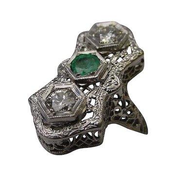 Antique 14 Karat  Diamond and Emerald Filigree Ring