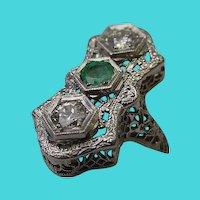 Beautiful Antique 14 Karat  Diamond and Emerald Filigree Ring
