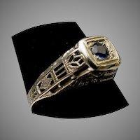 Stunning  18Karat  Sapphire and Filigree Ring