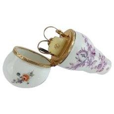 "Antique Porcelain Necessaire Etui ""12Karat PIECES"" ~ Beautiful Purple Transfer wPastoral Scene"