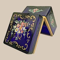 Antique French Cobalt Hinged Box w Pretty Flowers and Extraordinary Beautiful Gilding ~ VF Gilt Mounts and Lift Clasp.