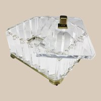 Spectacular BIG French Crystal Casket Hinged Box ~ Very Fine Crystal and Bronze Mounts~ Prism Faceted Sides w Scissor Cut Slightly Domed Top. Rests on a Bronze Base wOgee Feet.