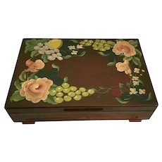"""16 ½"""" Hand painted Wood Box~   Hand painted Lemons, Grapes, Strawberries and Flowers with Green Leaves wFooted Base"""